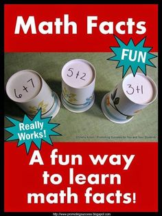 How to Teach Math Facts This is a wonderful tip to help you teach math facts to your students.  It works great in a math center!