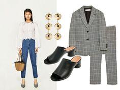 Zara suit, Zara mules, Balenciaga earrings. Elegant and elevated look. More on afnewsletter.com