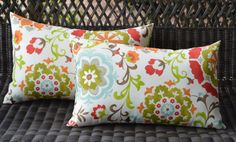 Set of 2 Pillow Covers ~ Suzanni Floral Scroll Orange Green Red Brown Rectangle / Lumbar Indoor / Outdoor