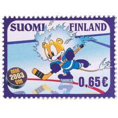 Postimerkki: Jääkiekon MM-kisat | Suomen postimerkit Hockey World, Ribbon Work, Unique Flowers, World Championship, Winter Sports, Ice Hockey, Unique Vintage, Finland, Applique