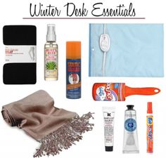 When the winter months comes around, you should re-stock your office emergency kit. You never know what mini-crises you might run into working A professional lady … Desk Essentials, Winter Essentials, Office Cubical Decor, Office Desks, Desk Redo, Work Cubicle, Mobile Office, Work Desk, Desk With Drawers