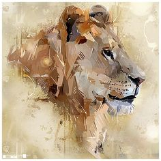 Looks like good Illustration by Denis Gonchar Abstract Animals, Watercolor Animals, Tableau Pop Art, Lion Art, Arte Pop, Wildlife Art, Animal Paintings, Beautiful Paintings, Oeuvre D'art