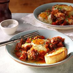 Italian Baked Eggs & Sausage Recipe -This isn't your typical egg bake! I serve this robust casserole of eggs, Italian sausage and fire-roasted tomatoes in bowls with warm, crusty rolls spread with butter. Easy Egg Recipes, Brunch Recipes, Breakfast Recipes, Cooking Recipes, Brunch Ideas, Breakfast Potluck, Breakfast Burger, Brunch Foods, Breakfast Bake