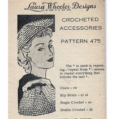 Handbag Crochet Pattern worked on a wood handle frame making it an easy to open, easy to carry bag.   It is accompanied by a smart beret.  The pattern is a Mail Order Design known as Laura Wheeler 475.