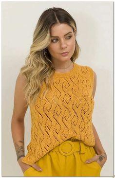 Идеи для вдохновения. Вязаная подборка на лето. Часть 1. Топы связаные спицами.   Вязалкина   Яндекс Дзен Knitting Blogs, Easy Knitting, Knitting Patterns, Knit Baby Dress, Loose Knit Sweaters, Yellow Top, White Casual, Pulls, Knit Crochet