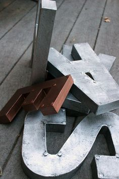 """Not sure what to do with them just yet... But their epic.  Would love a big old letter """"K"""" in silver ....8 or 12 Industrial Faux Metal Letters by Shop1929 on Etsy, $9.00"""
