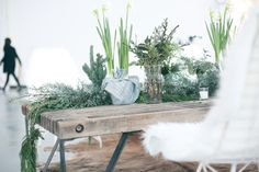 Trestle tables with plants as the runners All Tomorrow's Parties, Holiday Parties, Birthday Decorations, Christmas Decorations, Holiday Decor, Bohemian Christmas, Plant Table, Deco Nature, Free People Blog