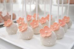 White Cake Pops with Peach Flowers