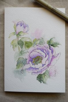 Purple Peony Watercolor Painted Card Original or by SunsetPeonies #watercolorarts