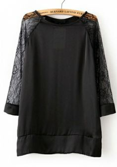 Black Lace Blending Round Neck Three Quarter Length Sleeve Print TOPS