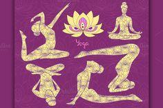 Yoga silhouette set.. Human Icons. $5.00
