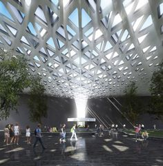 Image 6 of 35 from gallery of XXI Century National Film Archive / Rojkind Arquitectos. © Rojkind Arquitectos, render by Axel Fridman Movie In The Park, Parametric Architecture, Film Archive, Room Screen, Film Institute, Ground Floor Plan, Rest Of The World, Canopy, Restoration