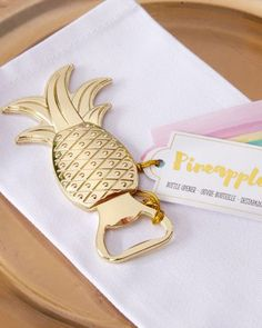 To celebrate tropical themed wedding, anniversary, birthday or class reunion with Gold Pineapple Shaped Bottle Opener as your party favors! Each bottle opener features a a shiny gold pineapple, this. Wedding Favours Bottles, My Wedding Favors, Inexpensive Wedding Favors, Bridal Shower Favors, Wedding Ideas, Trendy Wedding, Wedding Planning, Wedding Venues, Wedding Reception