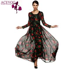 ACEVOG Autumn Dress Fashion Women Ladies Tunic Maxi Long Chiffon Dress Long Sleeve Floral Rose Dress Plus Size S-XXXL Vestidos
