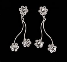 Silver filigree earrings for pierced ears. Our filigree earrings are made from silver threads that are woven, coiled, and twisted to generate beautiful pieces of art. Filigree Jewelry, Filigree Earrings, Silver Filigree, Drop Earrings, Ear Piercings, Art Pieces, Dance, Sterling Silver, Blossoms