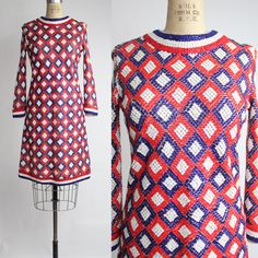 Vintage 1960s 4th of July Patriotic Laura Aponte Mod Sequin Shift  by VerseauVintage, $375.00