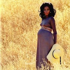 Diana Ross, pregnant with her daughter, Tracee Ellis Ross, in 1972. Photo via Tracee Ellis Ross/Vintage Black Glamour