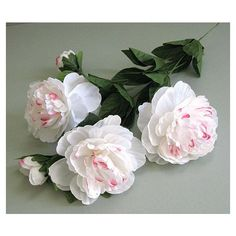White Peony Flower 2 White Flower Stem Flower White Wedding Flower... ($7.95) via Polyvore featuring home, home decor, floral decor, artificial flower arrangement, flower stem, faux floral arrangement and artificial silk flowers