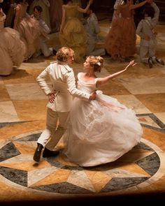 Aaron Taylor-Johnson as Vronsky and Alicia Vikanda as Kitty dancing in the mazurka in Anna Karenina
