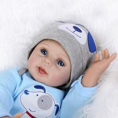 """Find More Dolls Information about NPK 22"""" Blue Eyes Bebe Reborn Silicone Reborn Baby Dolls Educational Toys for Children Girls Boys Silicone Reborn Babies Dolls,High Quality toys for children girls,China reborn baby doll Suppliers, Cheap silicone reborn baby dolls from DollMai Official Store on Aliexpress.com"""