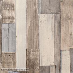 Papel Pintado New Walls NWS_1844_67_53, papel de imitación madera con listones colocados de manera irregular a lo largo de todo el papel y con efecto desgastado para ayudar a dar una apariencia antigua y vintage. Los tonos de este papel son beige y marrones acompañados por sutiles grises.