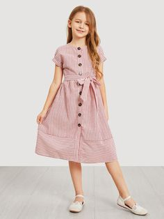 To find out about the Girls Waist Belted Single Breasted Striped Dress at SHEIN, part of our latest Girls Dresses ready to shop online today! Girls Fashion Clothes, Kids Fashion, Fashion Dresses, Kids Clothing, Fashion Fashion, Fashion Trends, Frock Design, Little Girl Dresses, Girls Dresses