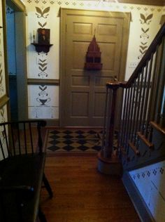 Marbleized Floorcloth – Black  Cream Diamonds as featured in the Colonial Williamsburg Christmas Home Tours! : Early American Floorcloths