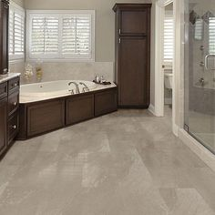 12 in. Sandstone Taupe Resilient Vinyl Tile Flooring with SimpleFit End Joint sq. / - The Home Depot Luxury Vinyl Tile Flooring, Linoleum Flooring, Vinyl Tiles, Bathroom Flooring, Floors, Home Depot Flooring, Allure Flooring, Girl Bathrooms, Bathroom Color Schemes