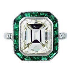 Vintage 5 Carat Emerald Cut Diamond Halo ...