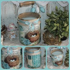 Decoupage Glass, Decoupage Art, Decoupage Vintage, Tin Can Crafts, Diy And Crafts, Shabby Chic Kitchen Accessories, Tin Can Art, Pipe Cleaner Crafts, Handprint Art