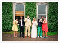 cool and colorful wedding party, casual done right.   100 Layer Cake blog