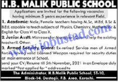 Jobs Description Jobs in Karachi 2021 at HB Malik Public School has been announced through the advertisement and applications from the suitable persons are invited on the prescribed application form. In these Latest Private Jobs the eligible Male/Female candidates from across the country can apply through the procedure defined by the organization and can get ... Read more The post Jobs in Karachi 2021 at HB Malik Public School appeared first on JobUstad.