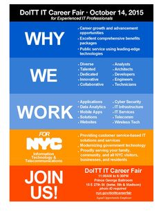 NYC's Department of Information Technology and Telecommunications (DoITT) is hosting an IT Professional Career Fair on October 14, 2015.