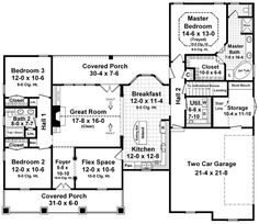 First Floor Plan of Country   Craftsman   European   Traditional   House Plan 59104.  Evaluate those side bedrooms--more than we were looking for on main.  Also might be a little short on living/kitchen space.