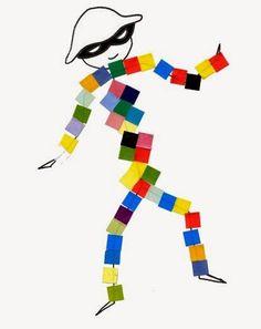 for Kinder. Cut and Paste Shapes.Harlequins for Kinder. Cut and Paste Shapes. Circus Crafts, Carnival Crafts, Mardi Gras, Theme Carnaval, Diy For Kids, Crafts For Kids, Diy And Crafts, Arts And Crafts, Preschool Art