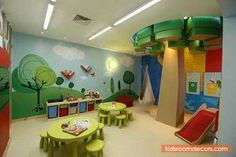 "Gorgeous And Colorful Daycare Playroom Layout Notion With ""Tree"" And Recycling Education Attribute - http://www.kidsroomdecors.com/kids-room-decorating/gorgeous-and-colorful-daycare-playroom-layout-notion-with-tree-and-recycling-education-attribute.html"