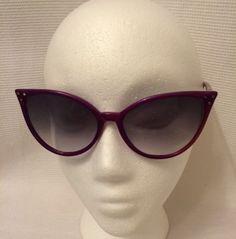 True-Vintage-70s-80s-Pearlescent-Purple-Cat-Eyed-Sunglasses-Boho-Hippie-MOD-Diva