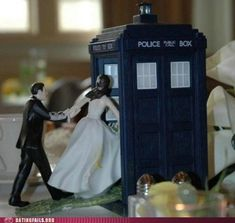 Doctor Who wedding cake topper......I would love this on top of a classy elegant traditional wedding cake.....it would be like totally normal reception then BABAM Doctor Who