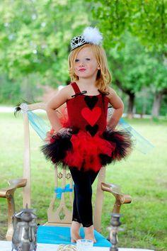 Girls Queen of Hearts Allice in Wonderland Tutu Dress, Halloween Costume