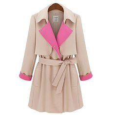 Women's Contrast Color Belted Trench Coat – USD $ 50.04