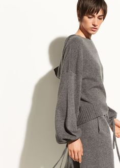 Scrunch Sleeve Wool and Cashmere Crop Hoodie for Women | Vince