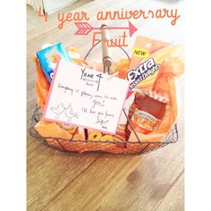 4 year anniversary gift! Tradition: fruit Everything is peachy when Im with you! Basket full of peach flavored goodies! #gift #ideas #anniversary #four #years #weddinganniversary