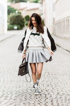 Blogger Anisa Sojka wear varsity key pieces from Urban Outfitters for the AW14 Trend Guide #aw14 #trendguide #varsity
