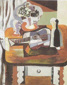Picasso - Copa, ramo de flores, guitarra y botella