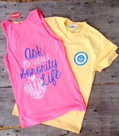 Go Greek! Formal Recruitment 2014 Ask me about sorority life, Panellenic Crest, American Apparel, Tanks, T-shirts, daffodil, chevron circle, neon pink, Greek101.com, inquiry@greek101.com, 888-473-3550