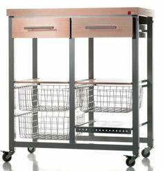 El carro verdulero Milenium con ruedas se convierte en mesa. Es el mueble auxiliar de cocina perfecto.