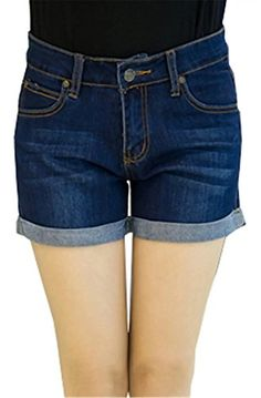 Cameinic Womens Girls Vintage Crimping Blue Denim High Waist Shorts Hot Pants ** Click on the image for additional details.