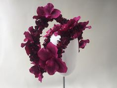 Flower Headband, Performance & Costume Headband, Alternative Bridal Headband, Festival Flower Headband: Pink Orchids, Burgundy Hydrangea by CleaBroad on Etsy