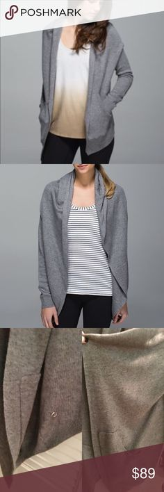 """Lululemon cozy cardigan Lululemon """"Grey cabin yogi wrap"""" Worn one and just cleaning out the closet, this is so comfy and cozy! Has pockets and thumb holes, this is a high quality piece! lululemon athletica Tops"""