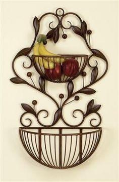 Benzara Metal Wall Basket for hanging fruit in the kitchen